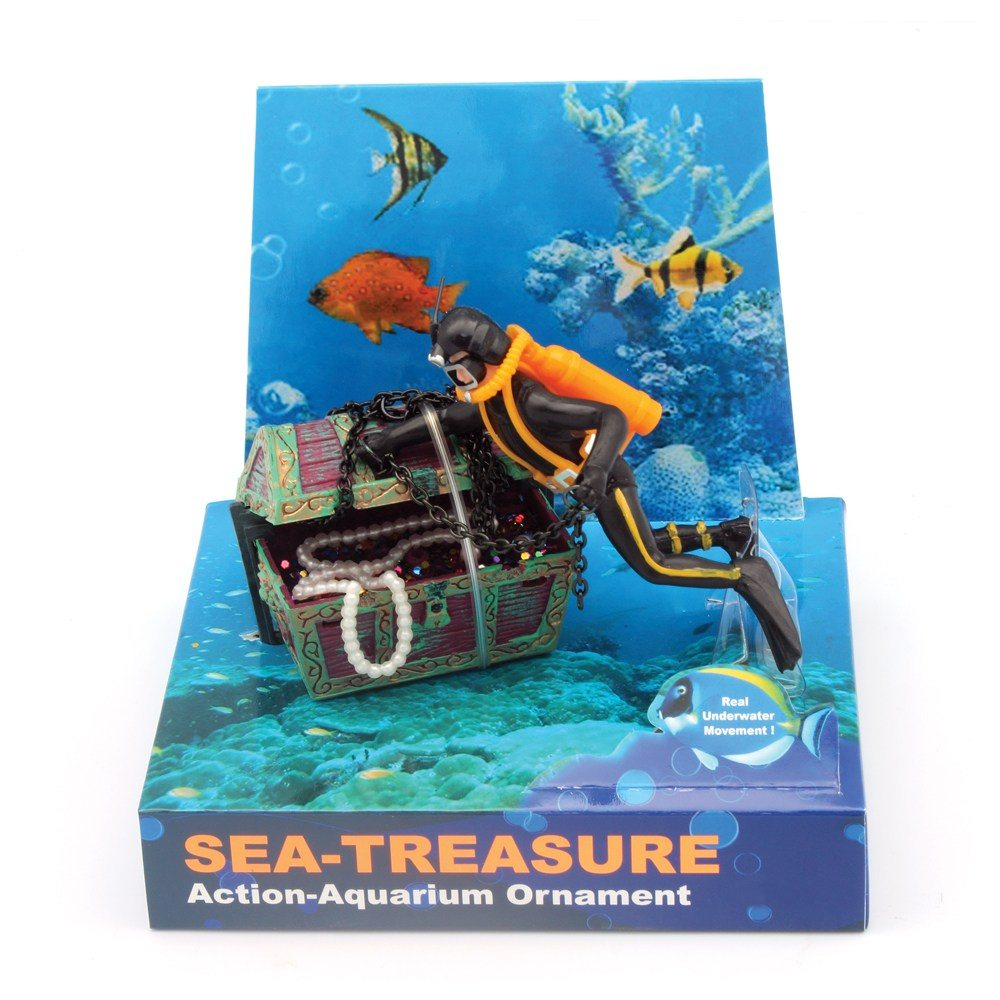 Hugo Kamishi Diver lifting treasure chest Aerating Aquarium ornament