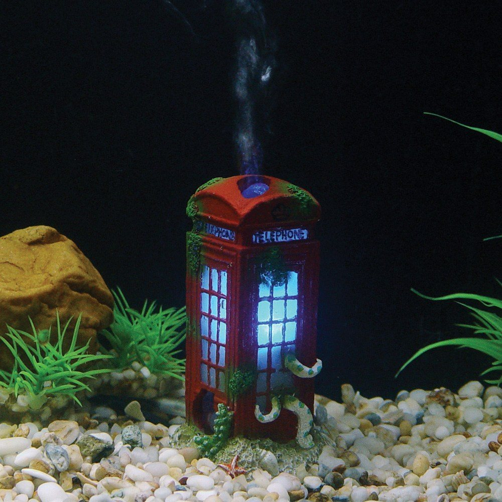 Hugo Kamishi Red Phone box , LED Aerating Aquarium ornament